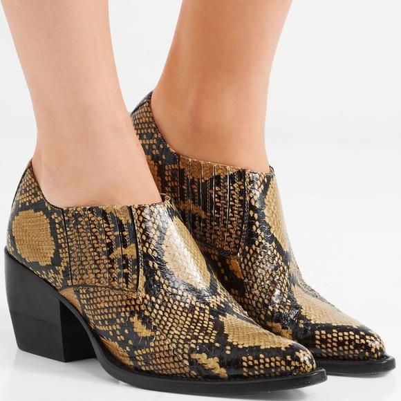 4fcfa81e64ba Chloe Shoes - CHLOÉ Chloe Rylee Snake-Effect Ankle Boots Sz 39